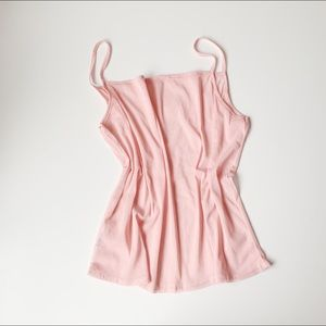 sheer baby pink stretchy tank top